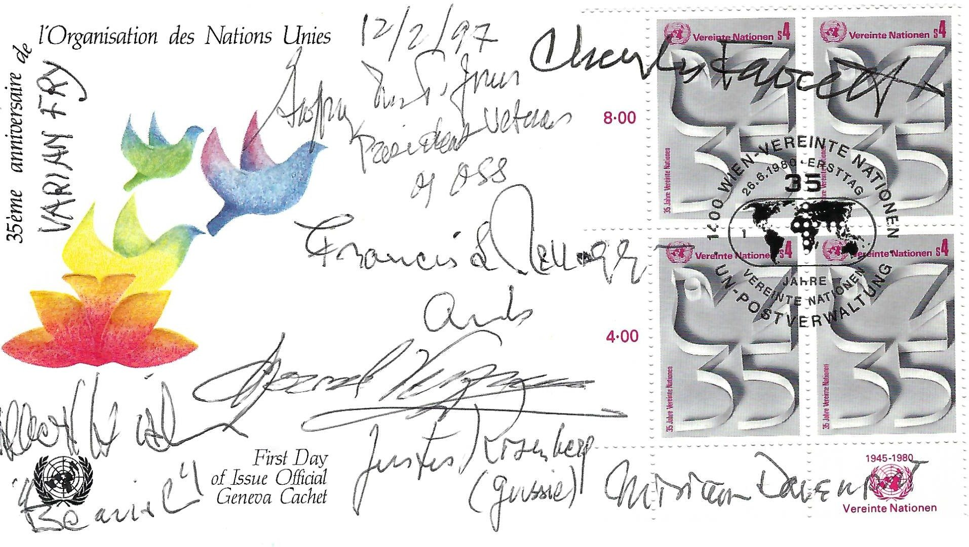 First Day Cover Signed by Seven Notable Members of Varian Fry's Emergency Rescue Committee Staff
