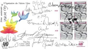 37959First Day Cover Signed by Seven Notable Members of Varian Fry's Emergency Rescue Committee Staff