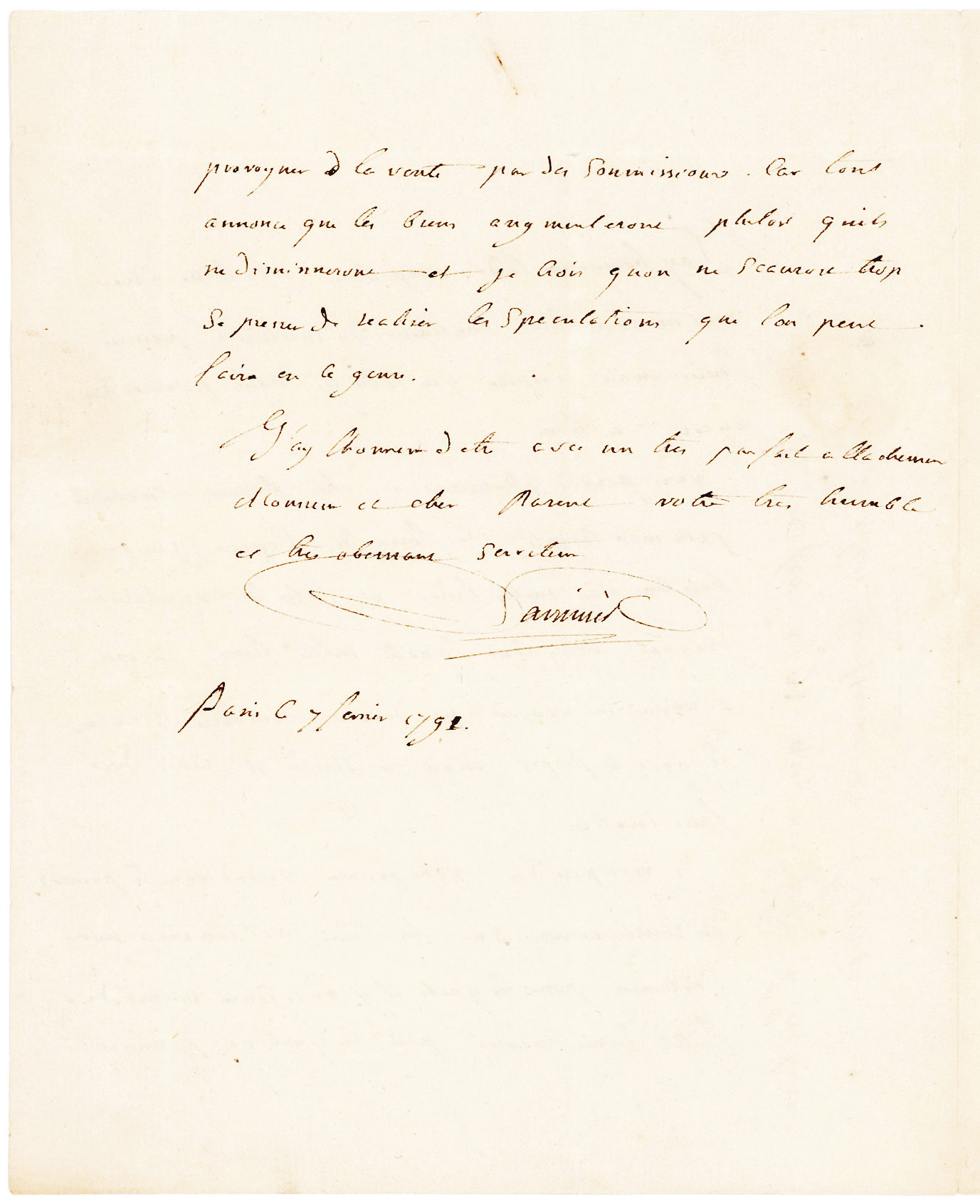 Rare ALS by Lavoisier, French Scientist & Financier, with Historic Provenance