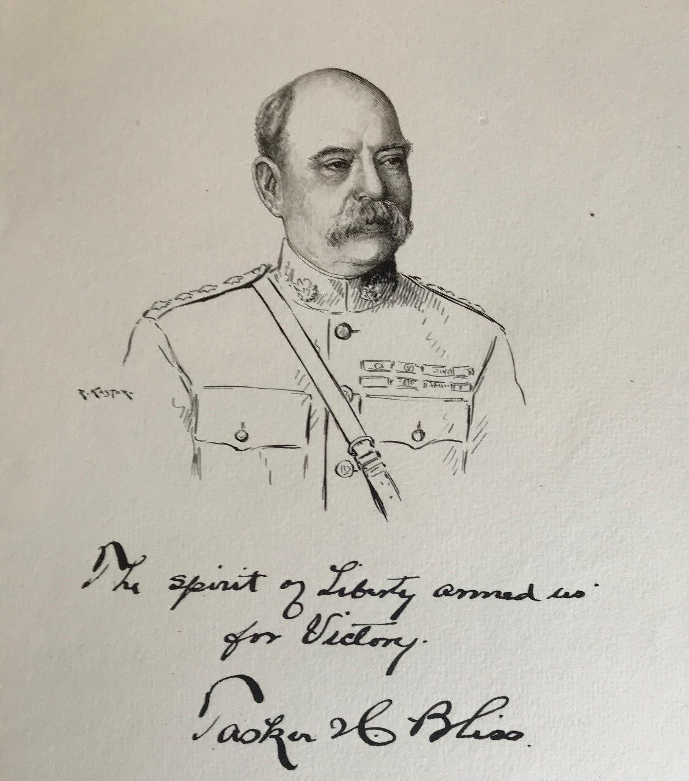 Original Signed Drawing with a Quotation from the U.S. Army's WWI Chief of Staff
