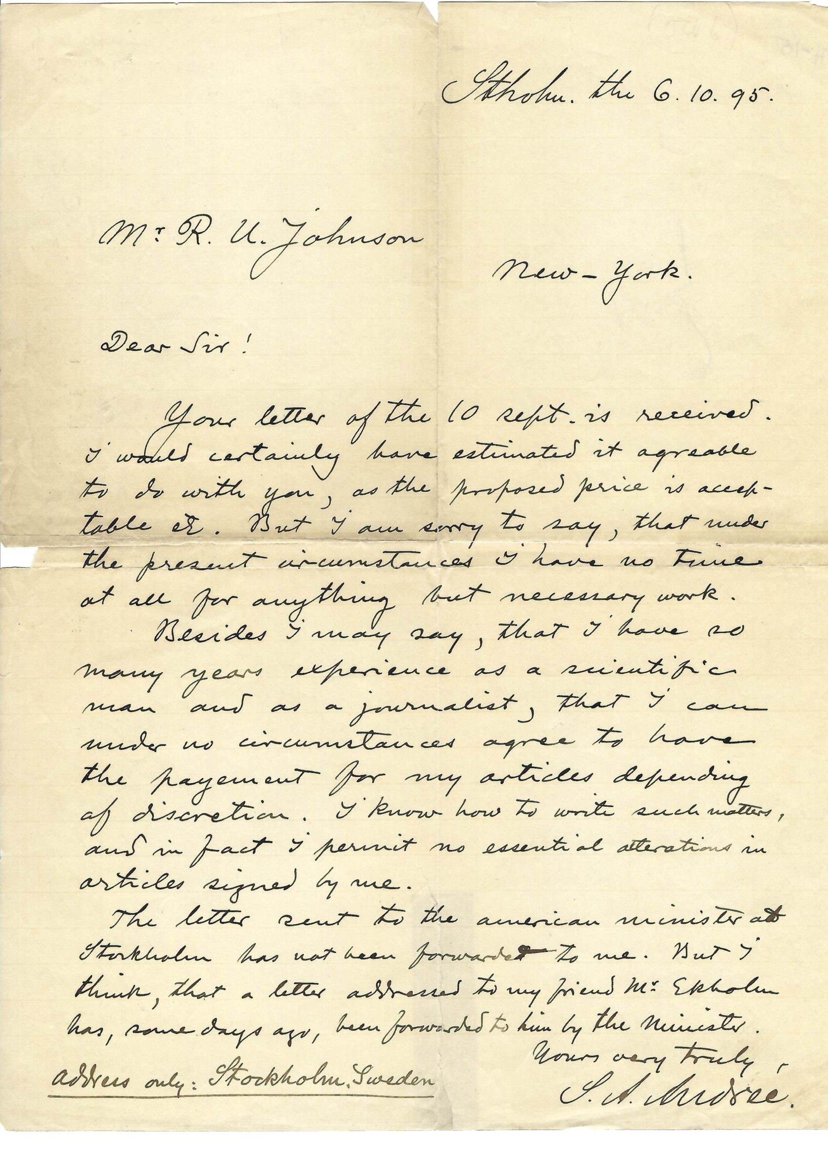 Rare Autograph Letter by Swedish Scientist and Balloonist, S.A. Andrée