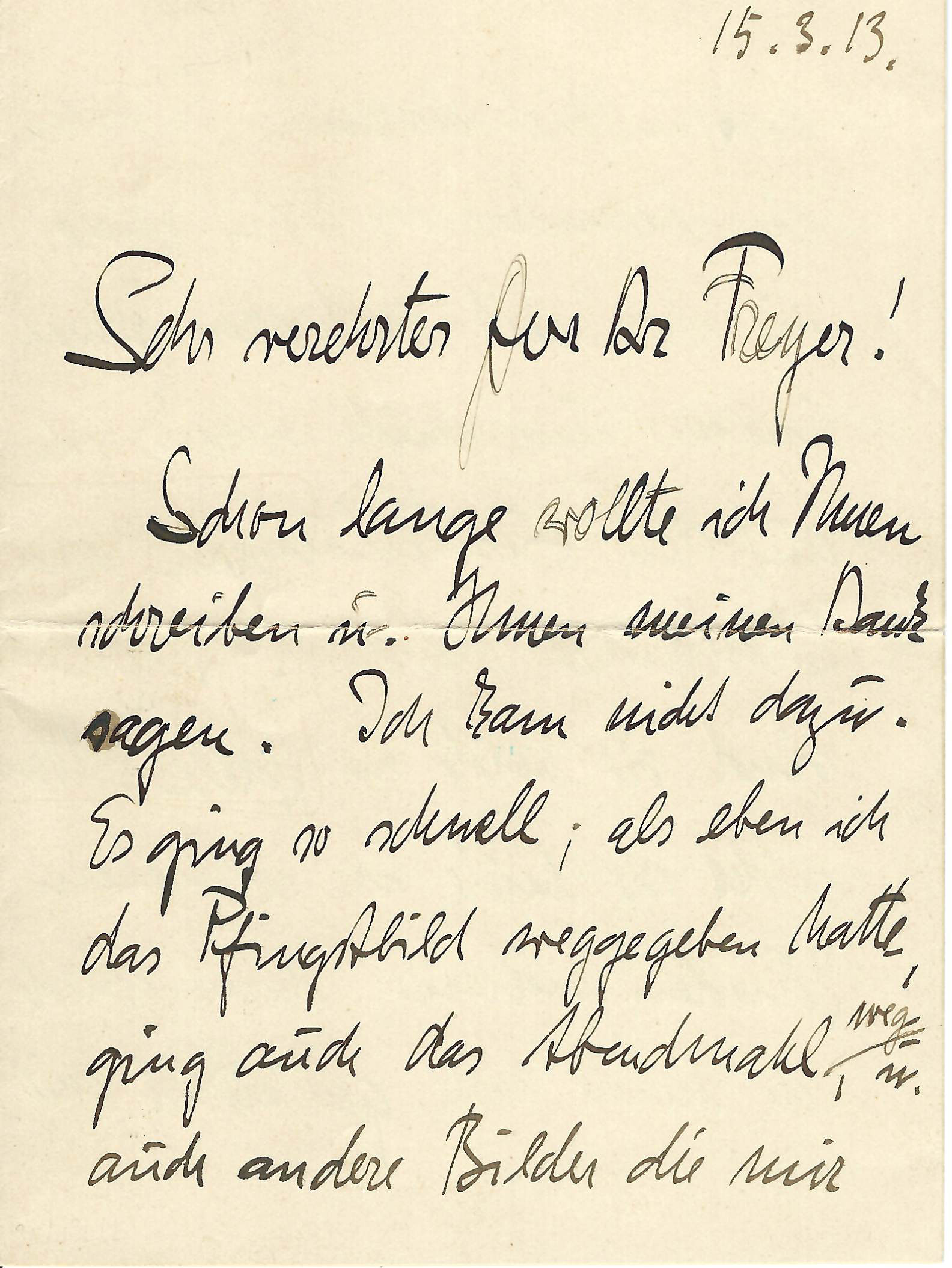"Early & Important Autograph Letter by Nolde, Branded a ""Degenerate"" Artist by the Nazis"