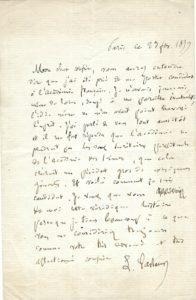 38404Handwritten Pasteur Letter Regarding Membership in the Prestigious Académie Française