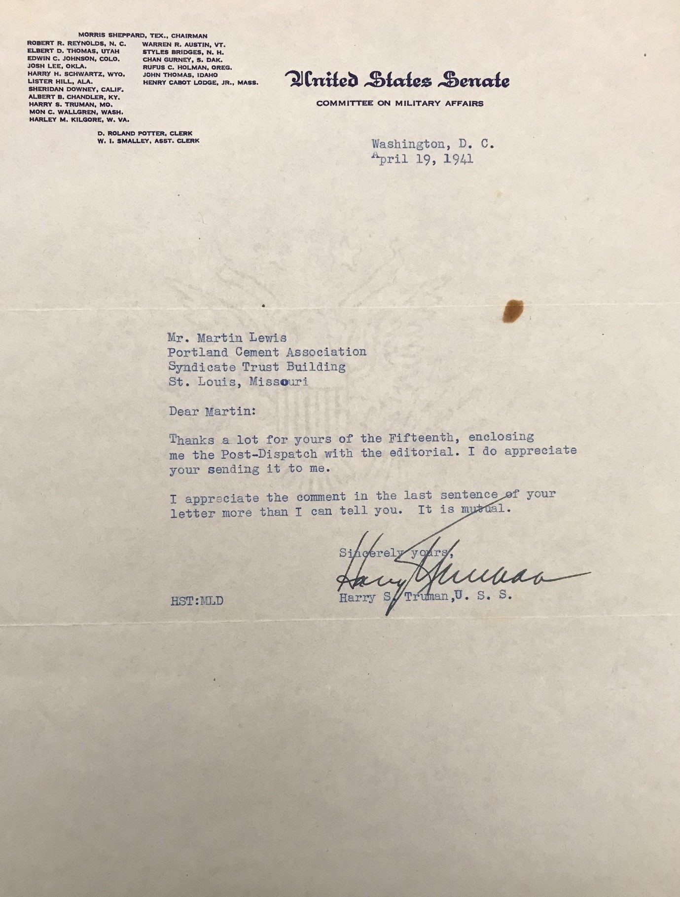 TLS Regarding St. Louis Press Coverage of the Upcoming Truman Committee Investigation of the National Defense Program