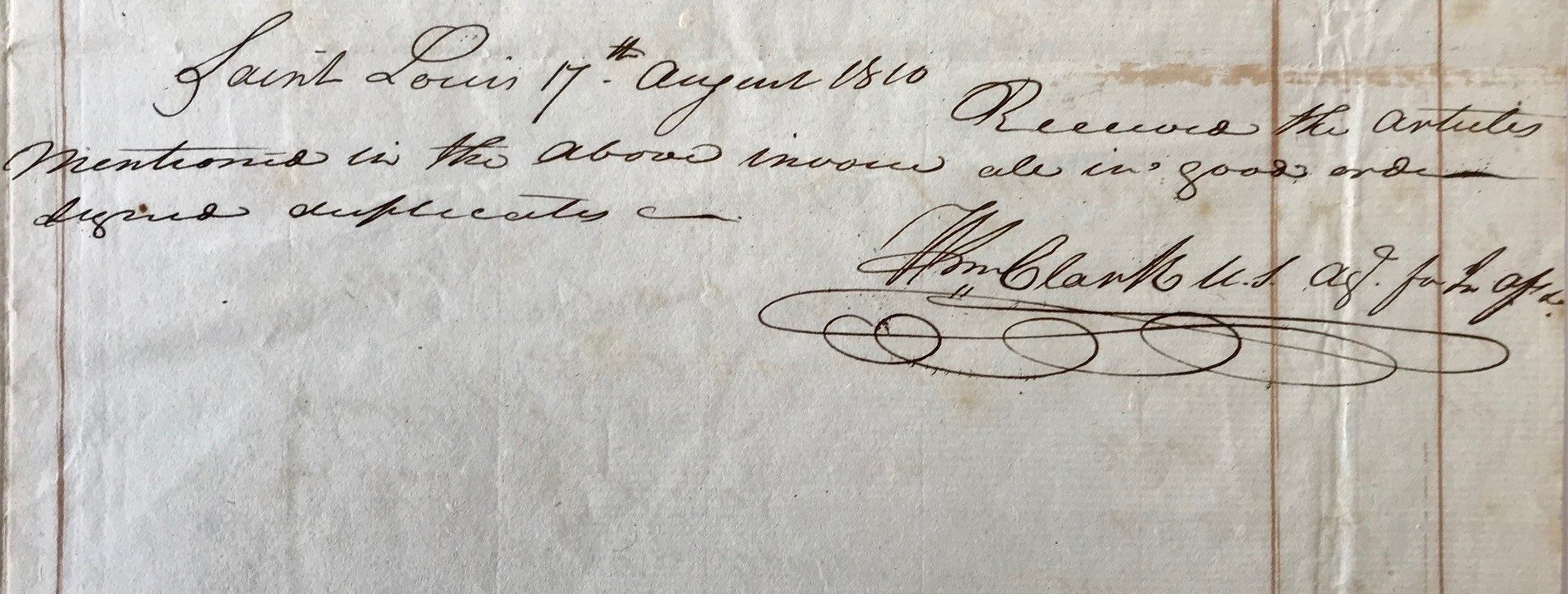 Shortly after the Lewis & Clark Expedition Ends, Clark Signs off on Articles to be Traded with American Indians