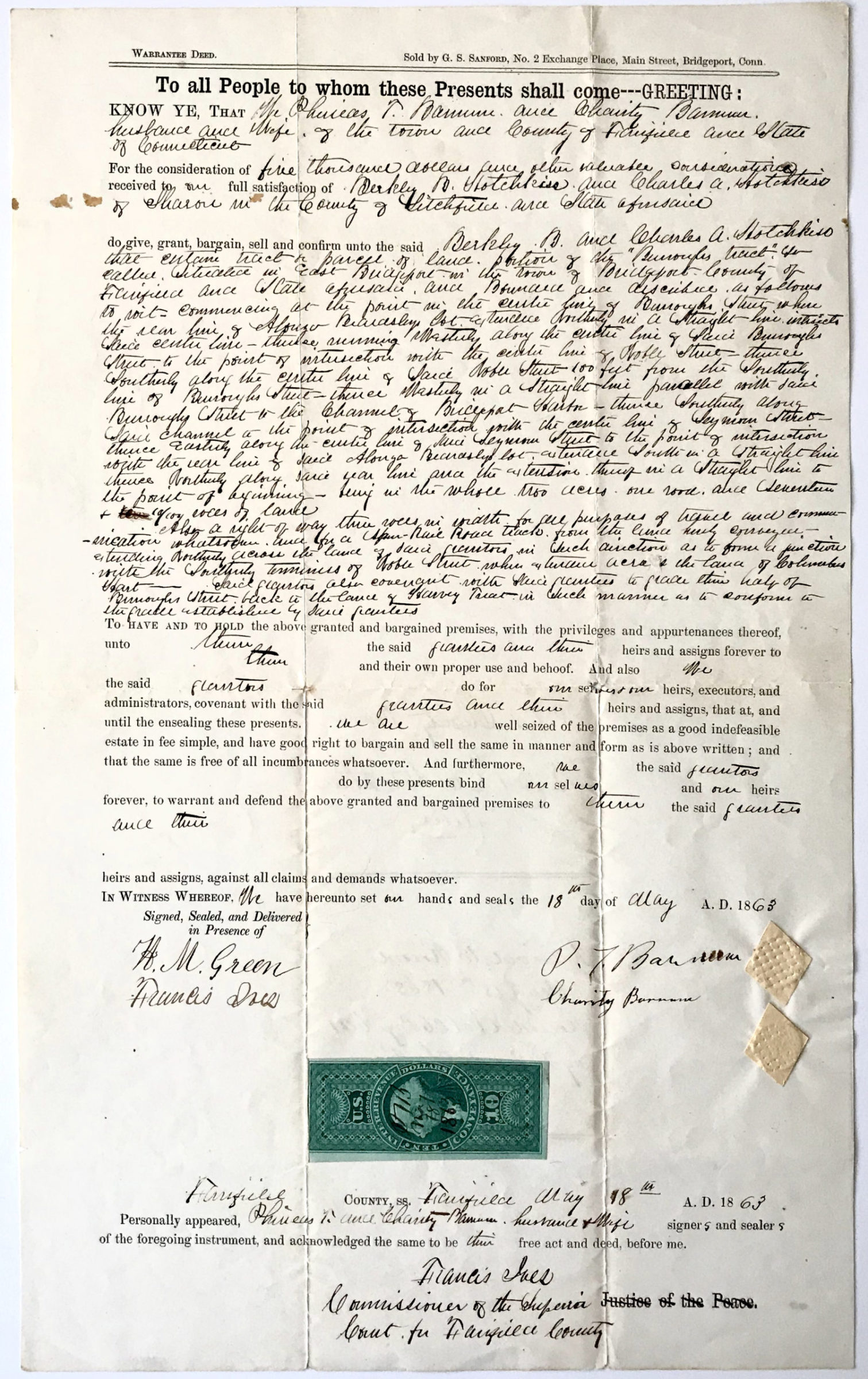 Signed Document Selling Connecticut Property to Wealthy Hotchkiss Family