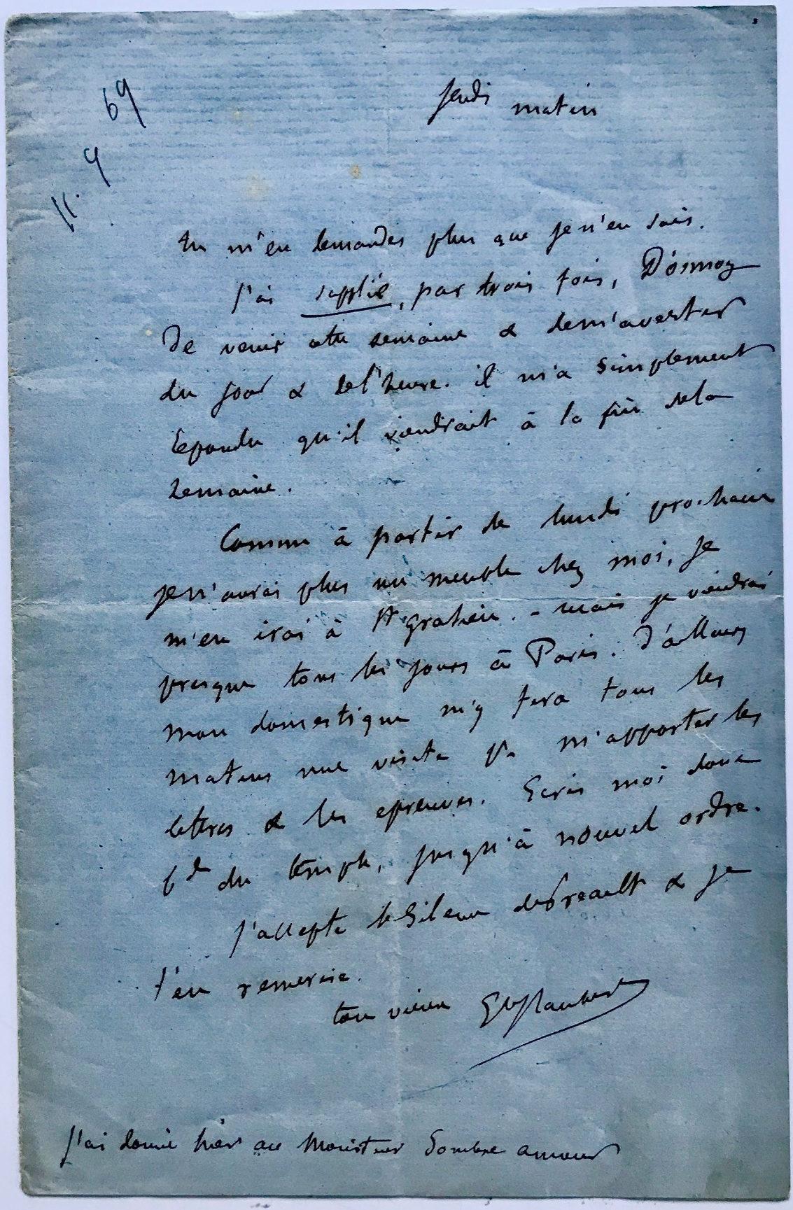 ALS Mentioning his Close Friend, the Recently Deceased Poet Louis Bouilhet