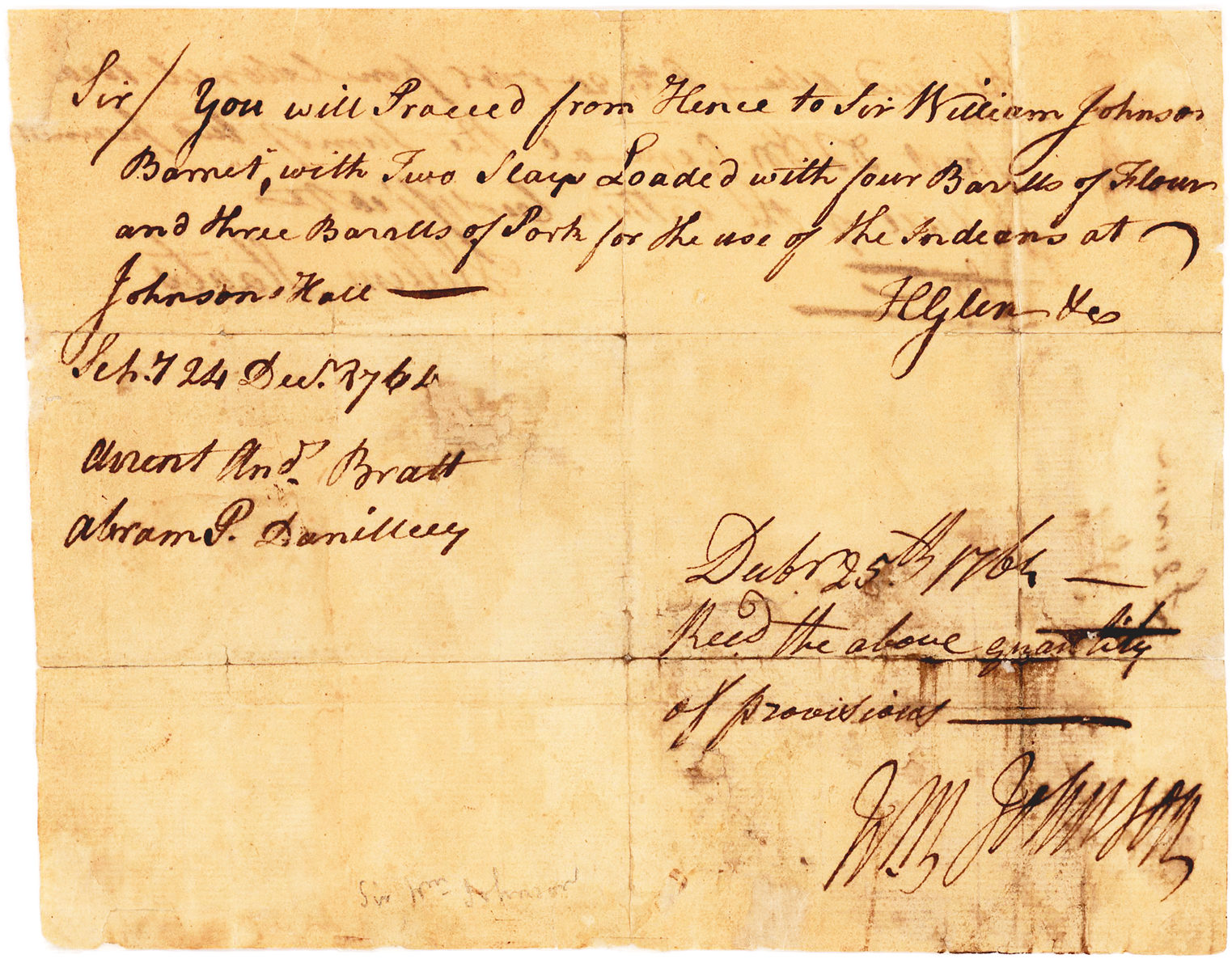 """Indian Agent and Founder of Johnstown, NY Acknowledges Receipt of supplies """"for the use of the Indians at Johnson Hall"""""""