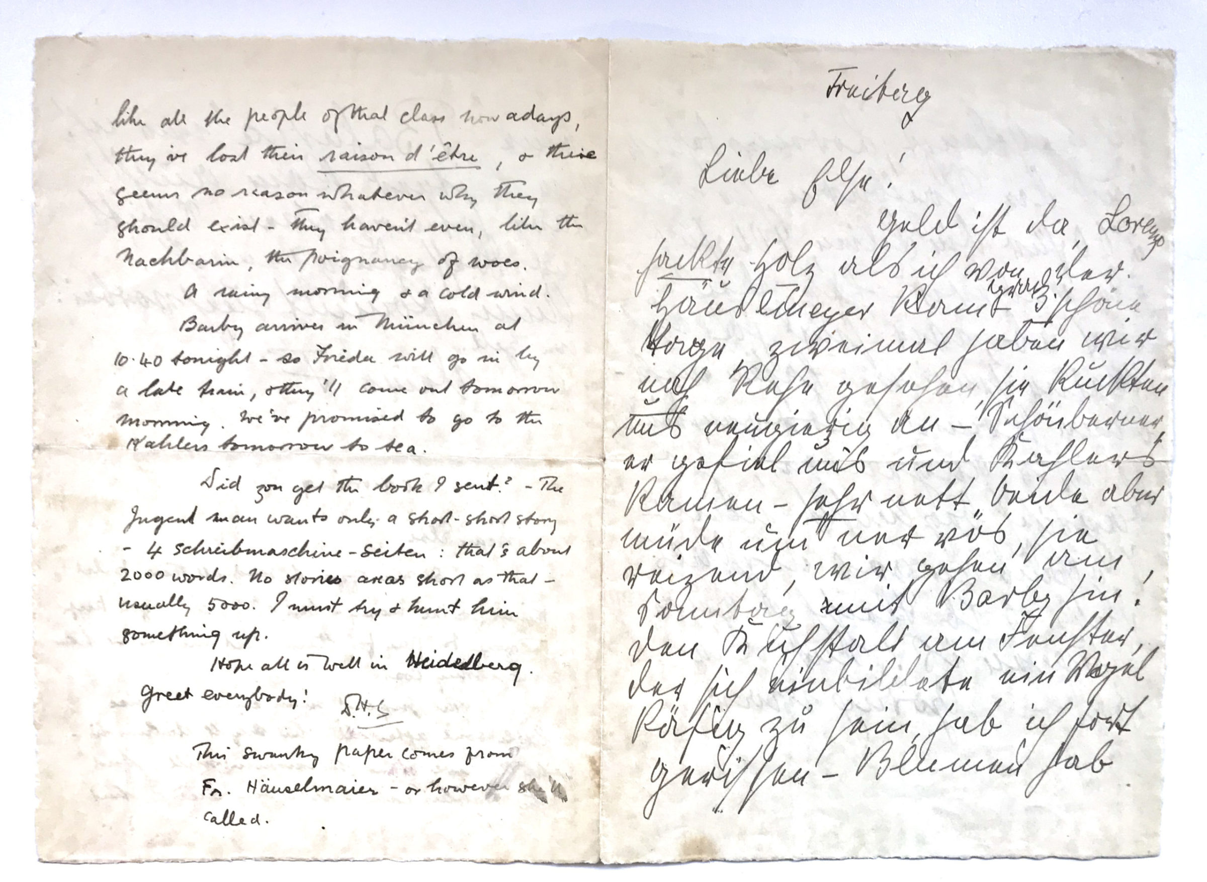 Unusual and Rare D.H. Lawrence and Frieda Lawrence Letter from Germany