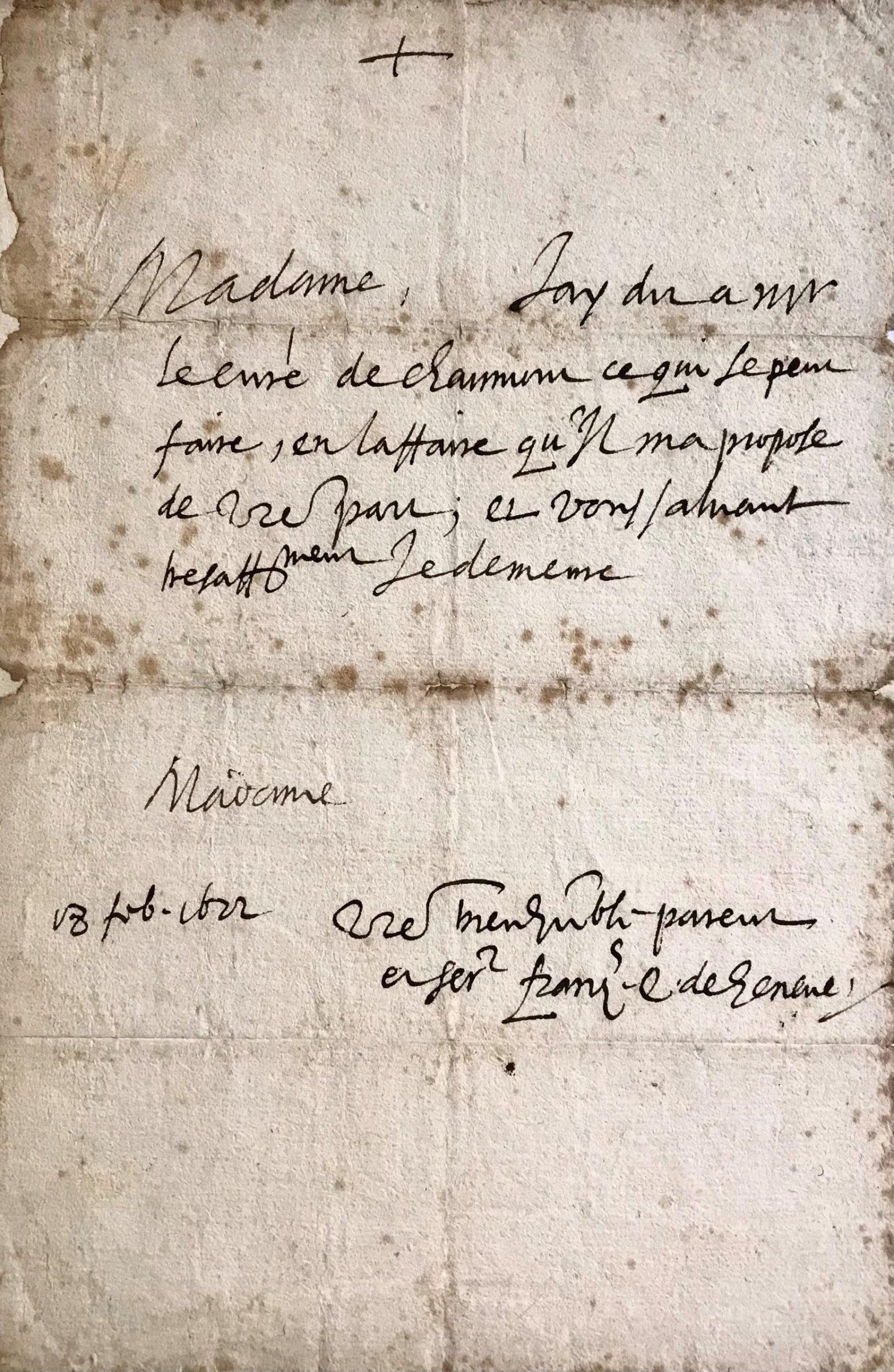 Saint Francis de Sales – a Rare Autograph Letter Signed