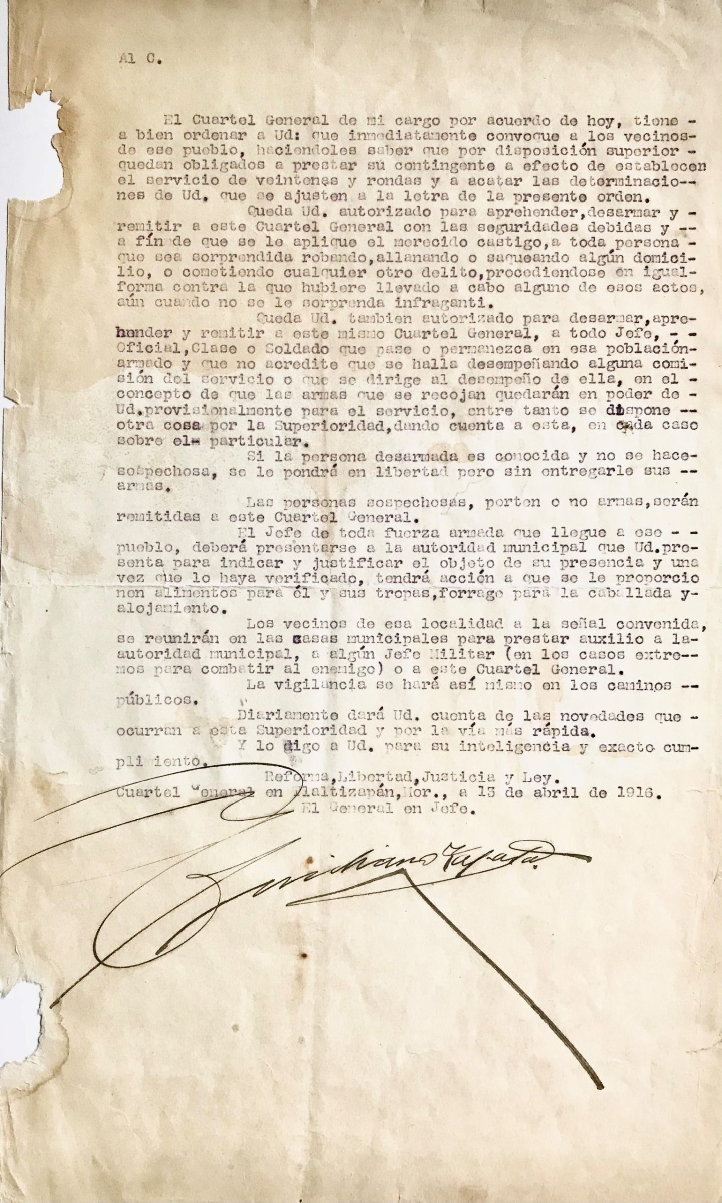 Zapata Establishes Law & Order in Tlaltizapan Where He is Headquartered